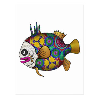 Brightly colored tropical fish - 2 postcard