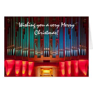 Brightly colour organ Christmas card