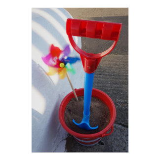 Brightly Coloured Beach Toys Poster