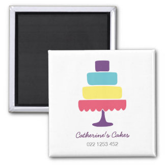 Brightly Coloured Cake Bakery 2 Inch Square Magnet