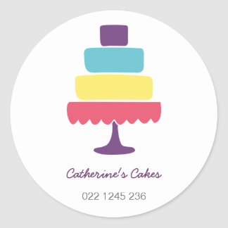 Brightly Coloured Cake Bakery Classic Round Sticker