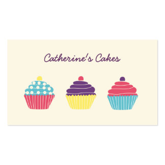 Brightly Coloured Cupcakes Bakery Business Card