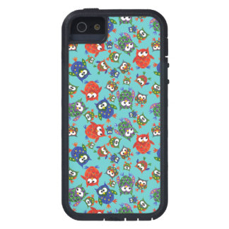 Brightly Coloured Cute Owls on Turquoise Case For iPhone SE/5/5s
