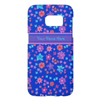 Brightly Coloured Ditsy Flowers Pattern on Blue Samsung Galaxy S7 Case