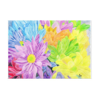 Brightly Coloured Flowers Canvas Print