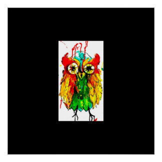 Brightly coloured owl poster, tattoo ink painting poster