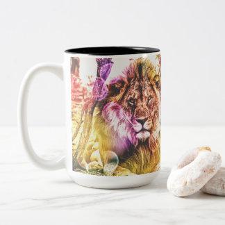 Brightly coloured two tone lion mug