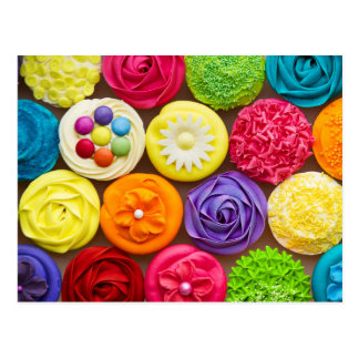 Brightly Decorated Cupcakes Postcard