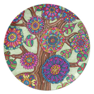 Brightly Flowering Tree of Life Party Plate