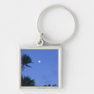 Brightly lit moon, silhouette of coconut trees keychain