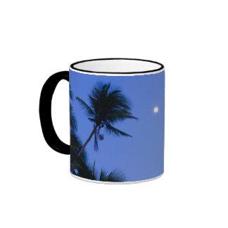 Brightly lit moon, silhouette of coconut trees mug
