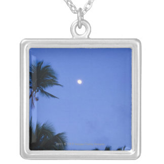 Brightly lit moon, silhouette of coconut trees silver plated necklace