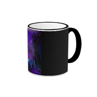 Brightly lit waterfall under dark purple sky ringer coffee mug
