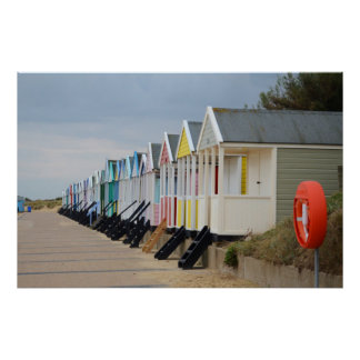 Brightly Painted Beach Huts Poster