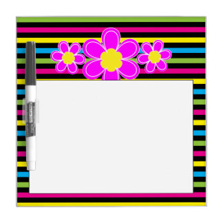 Brightly striped with pink flower dry erase board