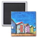 Brighton Bathing Boxes Watercolor Painting 2 Inch Square Magnet