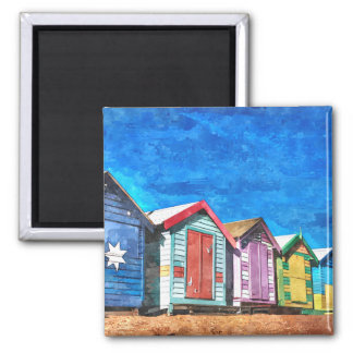 Brighton Bathing Boxes Watercolor Painting Magnet