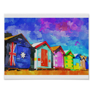 Brighton Bathing Boxes Watercolor Painting Poster