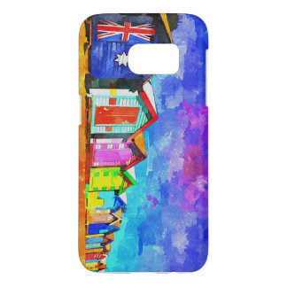 Brighton Bathing Boxes Watercolor Painting Samsung Galaxy S7 Case