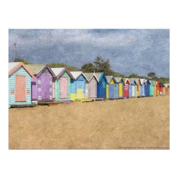 Beach Themed Brighton Beach Huts Poster