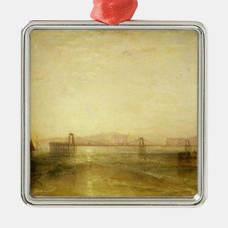 Brighton del mar, c.1829 adorno cuadrado plateado