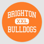 Brighton - dogos - alta - Brighton Michigan Pegatina Redonda