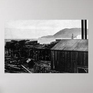 Brighton, Oregon Lumber Mills on Coast Photograp Poster