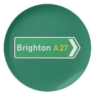 Brighton, señal de tráfico BRITÁNICA Plato De Cena
