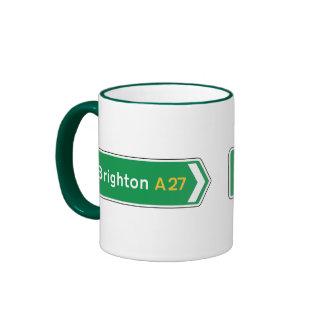 Brighton UK Road Sign Coffee Mugs