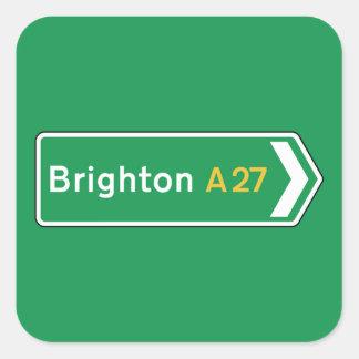 Brighton, UK Road Sign Square Sticker