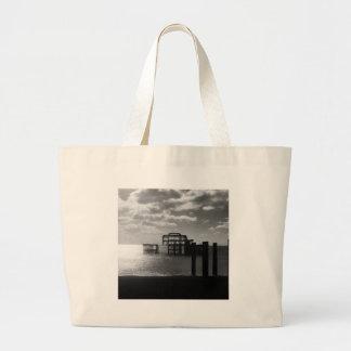 Brighton West Pier black & white Large Tote Bag