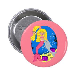 Brigit el botón rosado de la sirena y del delfín