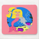 Brigit the Pink Mermaid and Dolphin Mousepad