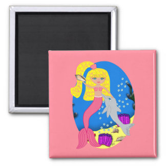 Brigit the Pink Mermaid and Dolphin Square Magnet
