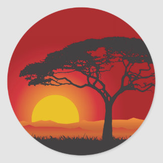 Briliiant Red Sunset Under The Bonsai Tree Classic Round Sticker