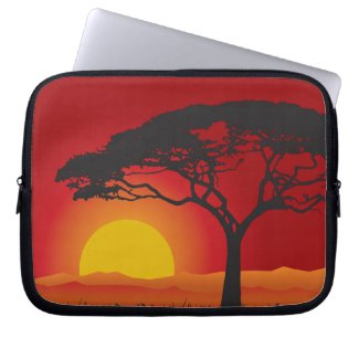 Briliiant Red Sunset Under The Bonsai Tree Laptop Computer Sleeves
