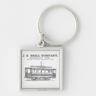 Brill Company Streetcars and Tramway Cars 1860 Silver-Colored Square Keychain