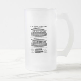 Brill Company Streetcars and Trolleys Frosted Glass Beer Mug