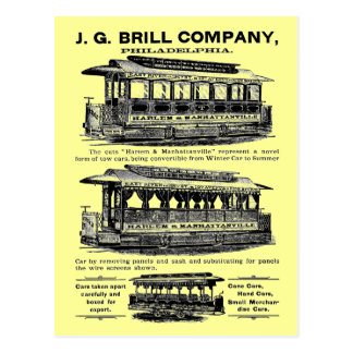 Brill Company Streetcars and Trolleys Postcard
