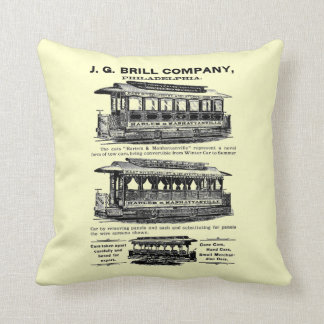 Brill Company Streetcars and Trolleys Throw Pillow