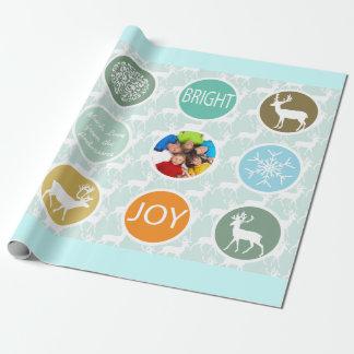 Brillante del navidad del reno de la foto de papel de regalo