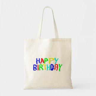 Brillante y colorido. Feliz cumpleaños Bolsa Tela Barata