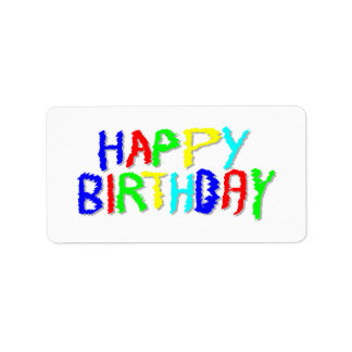 Brillante y colorido. Feliz cumpleaños Etiqueta De Dirección
