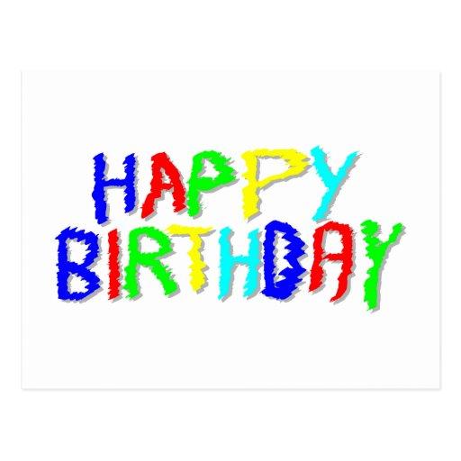 Brillante y colorido. Feliz cumpleaños Postales
