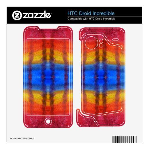 Brillante y colorido. Modelo rojo, azul y amarillo HTC Droid Incredible Skin