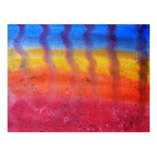 Brillante y colorido. Modelo rojo, azul y amarillo Postal