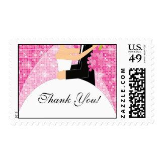 Brillantes rosados le agradecen franqueo nupcial estampillas