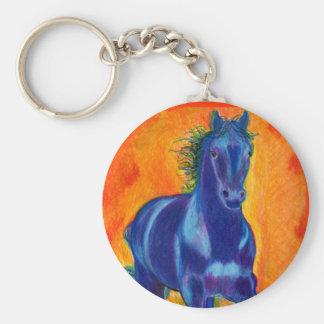 Brillian Blue Horse Basic Round Button Keychain