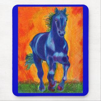 Brillian Blue Horse Mouse Pad