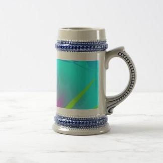 Brilliant Aqua Blue Abstract Pattern 18 Oz Beer Stein